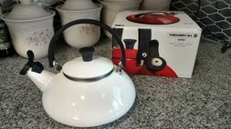 Le Creuset Enamel on Steel 1.6 Quart Zen Tea Kettle, White *