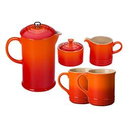 Le Creuset Flame Stoneware 5 Piece Coffee Service Set with M