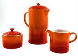 Le Creuset Flame Stoneware French Press Coffee Maker With Ma