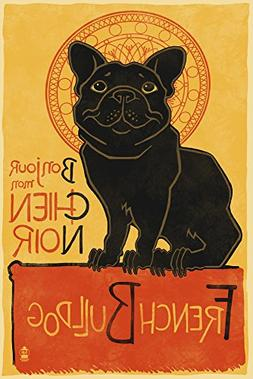 Lantern Press French Bulldog - Retro Chien Noir Ad