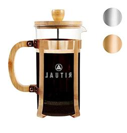 Ritual French Coffee Press, Bamboo Wood, Borosilicate Glass,