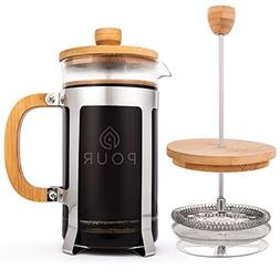 French Press Coffee Maker by Pour, Thick Borosilicate Glass,