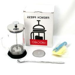 "MIOCARO French Press 6"" Clear Glass BPA Free Dishwasher Safe"