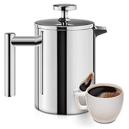French Press, 18/10 Stainless Steel Double Wall Insulated Co
