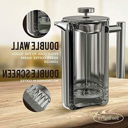 French Press Coffee Maker  - Double Walled 18/10 Large Coffe