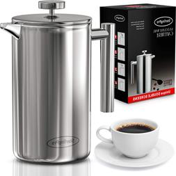 New French Press Double-Wall Stainless Steel Mirror Finish