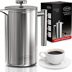 French Press Coffee Maker Double Walled Large Press with 2 F