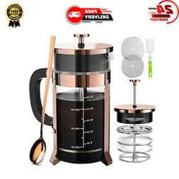 French Press Coffee Maker 34oz, Stainless Steel Borosilicate
