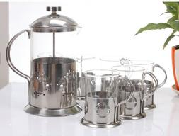 French Press Coffee Maker  and 6 Coffee Cups  BLT7