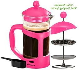 French Press Coffee Maker, Pink, 34 Oz.