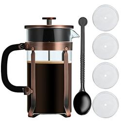 Adeeing 8-Cup French Press Coffee Maker, 34 Onze, Stainless