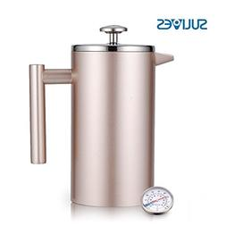 SULIVES French Press Coffee Maker Double Wall Insulated Stai