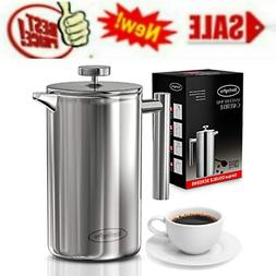 French Press Coffee Maker Double Walled Large Coffee Press W