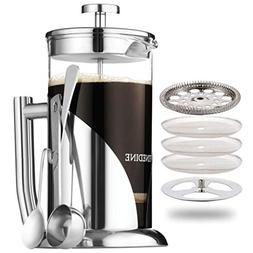 French Press Coffee Maker - Stainless Steel, with 34 Ounce B