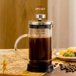 French Press Coffee Maker Glass Tea Beaker Single Serve Cafe