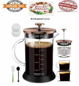 French Press Coffee Maker Glass34oz nonslip silicone base Du