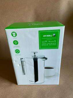 LINKYO French Press Coffee Maker Insulated Stainless Steel C