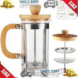 French Press Coffee Maker Leaf Tea Kettle Pot 12oz Cup Caraf