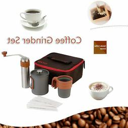 French Press Coffee Maker Manual Grinder Set Hand Burr Mill
