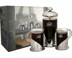 Pura Vida French Press Coffee Maker Set, 20 Ounce + 2 Luxury