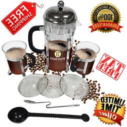 French Press 34oz Tea Coffee Maker Stainless Steel 2 Bonus M