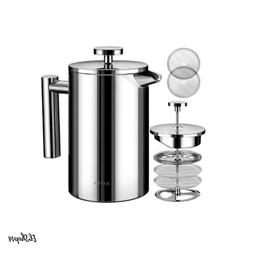 French Press Coffee Maker Stainless Insulated Double Steel W