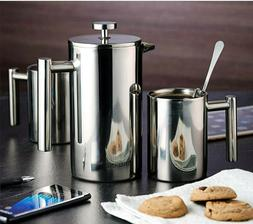 French Press coffee maker stainless steel Kit.