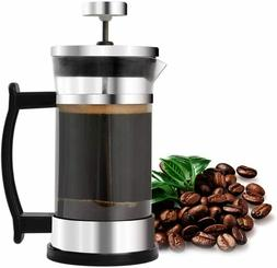 French Press Coffee Maker Stainless Steel and Borosilicate G