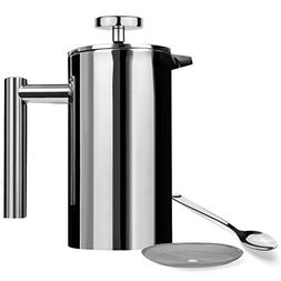 AMOVEE French Press Coffee Maker Tea Maker, 304 Stainless St