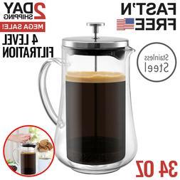 french press coffee maker tea pot plunger