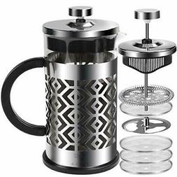 French Press Coffee Maker with 4 Filters Heat Resistant Dura