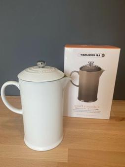 Le Creuset French Press Coffee Pot Stoneware 27 Oz White