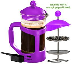 Ovente French Press Cafetière Coffee and Tea Maker, Heat-Re
