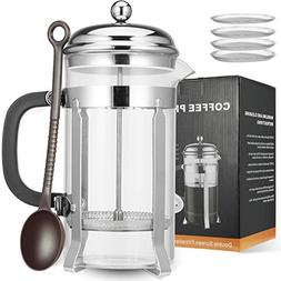 MeetU French Press Coffee Tea Maker 34oz FDA 304 Stainless S