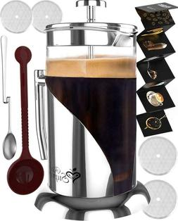 FRENCH PRESS COFFEE  TEA MAKER COMPLETE BUNDLE | 34 OZ | GER