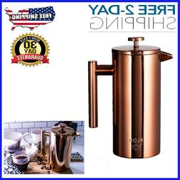 French Press for Coffee & Tea in Rose Gold Copper - Large, D