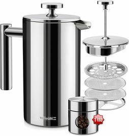 French Press Heavier Duty Stainless Steel Coffee Maker, Doub