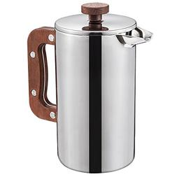Miuly Stainless Steel French Press With Walnut Handle, Doubl