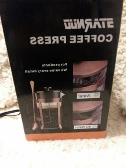 STARNUO Glass French Press Coffee  Maker, Cooper plated lid