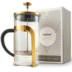 VonShef Premium Glass Heat Resistant French Press Cafetiere