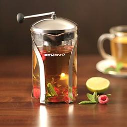 Ovente Glass Tea Maker with Stainless Steel Retractable Infu