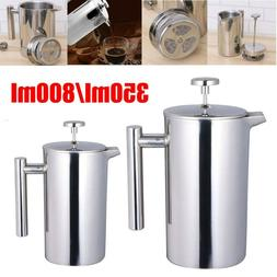 Insulated French Press Coffee Maker Stainless Steel Dual Wal