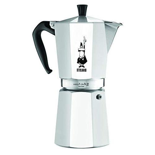 Original Bialetti 12-Espresso Cup Moka Espresso Maker with Extra Genuine Bialetti Replacement and Three