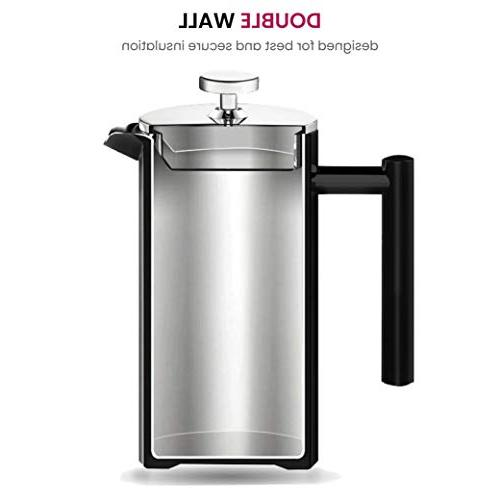 Finedine French Coffee Maker Stainless Steel Wall Retains Triple-Screen Sleek Filter