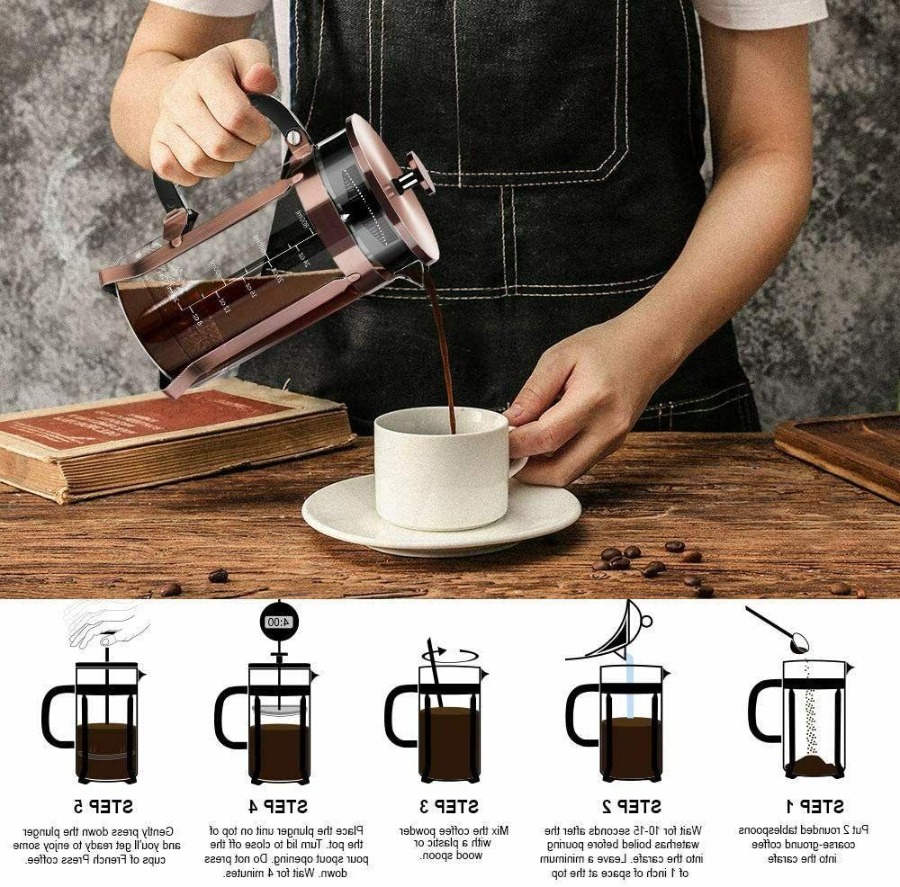 32oz Wall Steel Press Coffee Maker Triple Filters