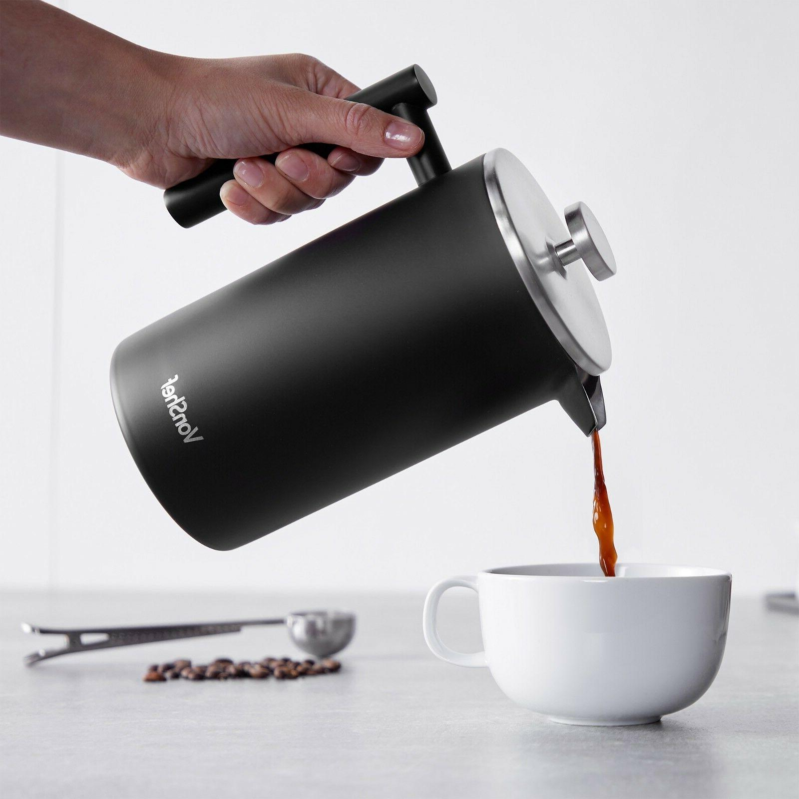 Stainless Steel Press Cafetiere & Spoon