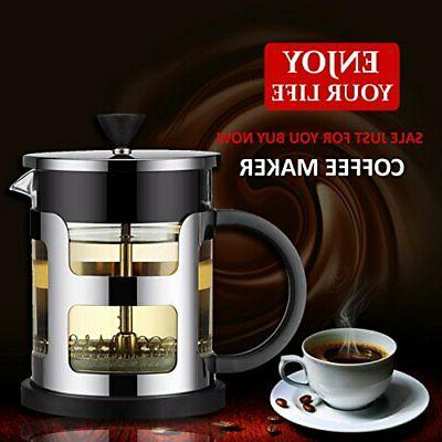 French Press Coffee Tea Maker Steel 24oz