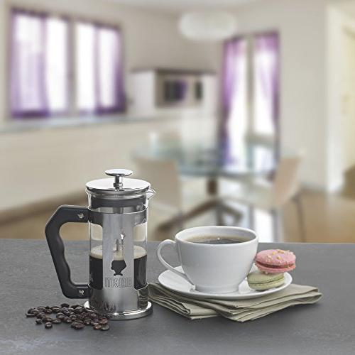 Bialetti Steel 3-Cup French Press Coffee Maker, Silver
