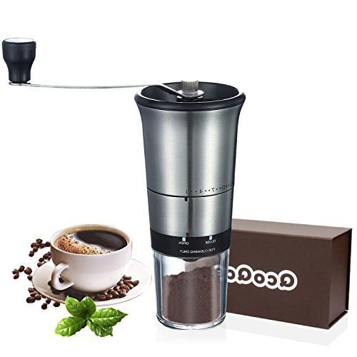 QcoQce Manual Coffee Grinder - Adjustable Hand Grinder - Cer