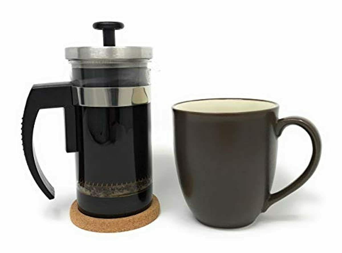 Brillante Small French Press Coffee with Ounce Glass Beaker Single